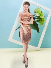 Ideal Short Sleeves Sequined Mini Length Zipper Evening Dress in Orange Red with Sequins