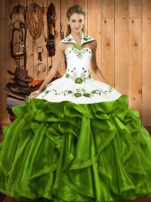 Custom Made Floor Length Lace Up Quinceanera Gowns Olive Green for Military Ball and Sweet 16 and Quinceanera with Embroidery and Ruffles