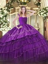 Custom Design Embroidery and Ruffled Layers Quinceanera Dress Eggplant Purple Zipper Sleeveless Floor Length