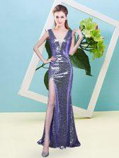 Smart Lavender V-neck Neckline Sequins Dress for Prom Sleeveless Zipper