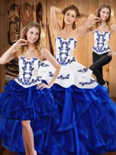 Fantastic Blue Sleeveless Satin and Organza Lace Up Quinceanera Gown for Military Ball and Sweet 16 and Quinceanera