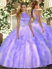 Unique Lavender Ball Gowns Organza Halter Top Sleeveless Beading and Ruffles Floor Length Backless Quinceanera Dress