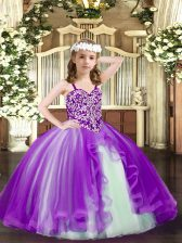Tulle Sleeveless Floor Length Little Girls Pageant Gowns and Beading