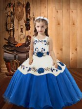Straps Sleeveless Lace Up Girls Pageant Dresses Blue Organza