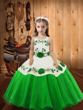Embroidery Girls Pageant Dresses Lace Up Sleeveless Floor Length