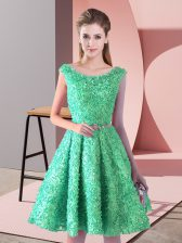 Dazzling Sleeveless Lace Knee Length Lace Up Prom Dresses in Turquoise with Belt