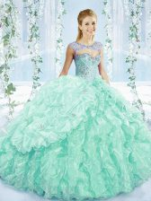 Sweetheart Sleeveless Organza Quinceanera Dresses Beading and Ruffles Brush Train Lace Up