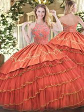 On Sale Satin and Organza Sleeveless Floor Length Sweet 16 Dress and Beading and Embroidery and Ruffles