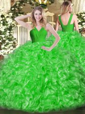 Fashion Green Organza Zipper Quinceanera Dress Sleeveless Floor Length Ruffles