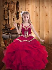 Fashionable Red Sleeveless Floor Length Embroidery and Ruffles Lace Up Little Girls Pageant Dress Wholesale