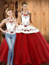Enchanting White And Red Sleeveless Embroidery Floor Length Quinceanera Dresses