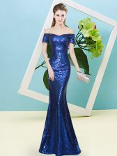 Royal Blue Prom Evening Gown Prom and Party with Sequins Off The Shoulder Short Sleeves Zipper
