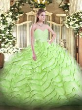Yellow Green Sweetheart Lace Up Beading and Ruffled Layers 15th Birthday Dress Brush Train Sleeveless