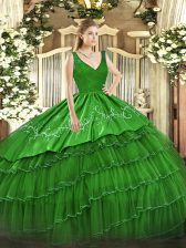 Ball Gowns Vestidos de Quinceanera V-neck Satin and Tulle Sleeveless Floor Length Zipper
