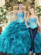 Aqua Blue Tulle Lace Up Sweetheart Sleeveless Floor Length Quinceanera Dress Beading and Ruffles