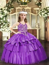 Customized Sleeveless Organza Floor Length Lace Up Little Girls Pageant Dress in Lilac with Beading and Ruffled Layers