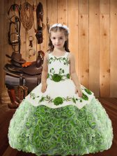 Simple Floor Length Ball Gowns Sleeveless Multi-color Child Pageant Dress Lace Up