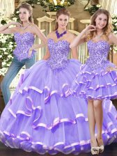 Lavender Sweetheart Neckline Appliques and Ruffled Layers Quinceanera Dress Sleeveless Zipper
