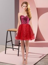 Extravagant Wine Red Sweetheart Zipper Sequins Homecoming Dress Sleeveless