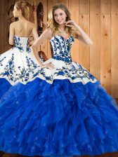 Perfect Sweetheart Sleeveless Tulle Sweet 16 Dress Embroidery and Ruffles Lace Up