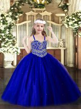 Tulle Straps Sleeveless Lace Up Beading High School Pageant Dress in Royal Blue