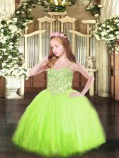 Tulle Spaghetti Straps Sleeveless Lace Up Appliques Pageant Gowns in Yellow Green