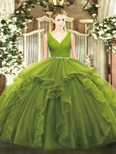 Floor Length Olive Green Sweet 16 Quinceanera Dress Tulle Sleeveless Beading and Ruffles