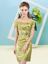 Fashionable Yellow Off The Shoulder Neckline Sequins Prom Evening Gown Short Sleeves Zipper