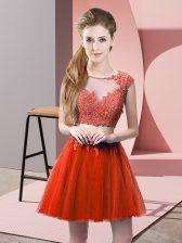 Custom Designed Red Zipper Homecoming Dress Appliques Sleeveless Mini Length