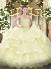 Charming Organza Sleeveless Floor Length Sweet 16 Quinceanera Dress and Beading and Ruffled Layers