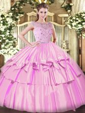 Tulle Sleeveless Floor Length 15th Birthday Dress and Beading and Ruffled Layers