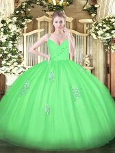 Chic Tulle Sleeveless Floor Length Sweet 16 Dresses and Appliques