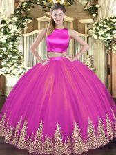 Charming Floor Length Two Pieces Sleeveless Fuchsia Quinceanera Dress Criss Cross