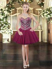 Shining Tulle Sweetheart Sleeveless Lace Up Beading Prom Dress in Burgundy