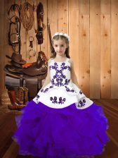Eggplant Purple Ball Gowns Straps Sleeveless Organza Lace Up Embroidery and Ruffles Little Girl Pageant Dress