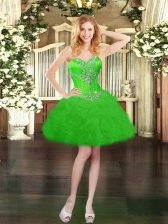 Cute Organza Sweetheart Sleeveless Lace Up Beading and Ruffles and Pick Ups Evening Dress in Green