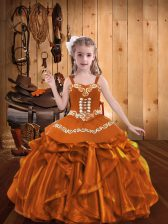 Orange Ball Gowns Straps Sleeveless Organza Floor Length Lace Up Embroidery and Ruffles Pageant Dress Womens
