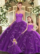 Ball Gowns Quince Ball Gowns Purple Sweetheart Organza Sleeveless Floor Length Lace Up