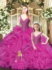 Luxury Straps Sleeveless Tulle Quinceanera Gowns Beading and Ruffles Lace Up