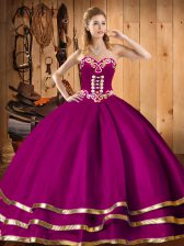 Fuchsia Ball Gowns Embroidery Quinceanera Dress Lace Up Organza Sleeveless Floor Length