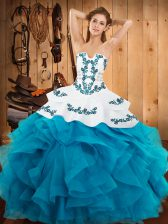Teal Ball Gowns Strapless Sleeveless Satin and Organza Floor Length Lace Up Embroidery and Ruffles Quinceanera Dresses