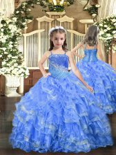 Hot Sale Beading and Ruffled Layers Girls Pageant Dresses Baby Blue Lace Up Sleeveless Floor Length
