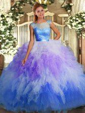 Custom Made Floor Length Multi-color Sweet 16 Dresses Scoop Sleeveless Backless