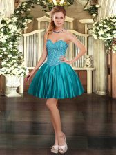 Fashionable Teal Sleeveless Satin Lace Up Prom Evening Gown for Prom and Party