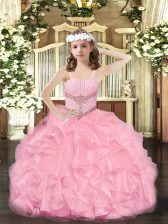 Exquisite Ball Gowns Pageant Dress Wholesale Rose Pink Straps Organza Sleeveless Floor Length Zipper