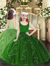 Charming Dark Green Zipper Pageant Dress Wholesale Beading and Ruffles Sleeveless Floor Length
