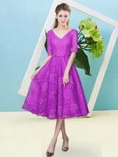 Custom Design Fuchsia V-neck Lace Up Bowknot Dama Dress for Quinceanera Half Sleeves
