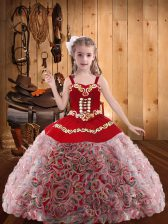 Enchanting Straps Sleeveless Fabric With Rolling Flowers Pageant Dress for Teens with Headpieces Embroidery and Ruffles Lace Up