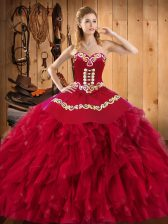 Excellent Wine Red Sweetheart Lace Up Embroidery and Ruffles Quince Ball Gowns Sleeveless