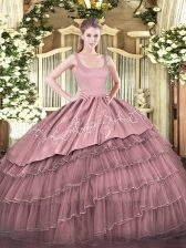 Red 15th Birthday Dress Military Ball and Sweet 16 and Quinceanera with Embroidery and Ruffled Layers Straps Sleeveless Zipper
